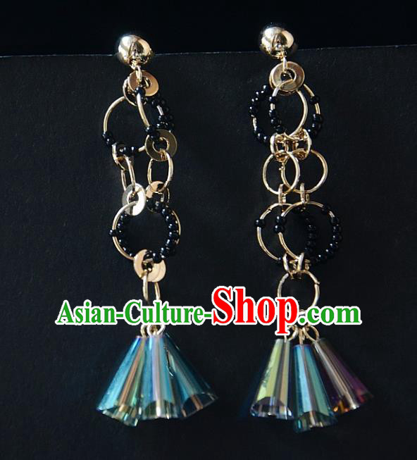 European Western Bride Vintage Colorful Tassel Earbob Accessories Renaissance Earrings for Women