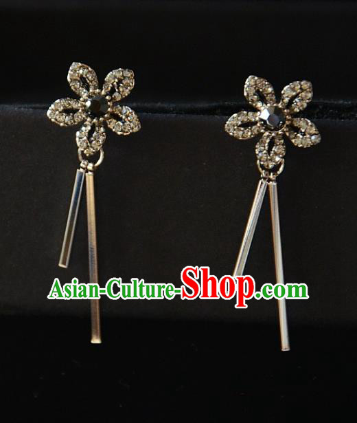 European Western Bride Vintage Crystal Flower Earbob Accessories Renaissance Earrings for Women