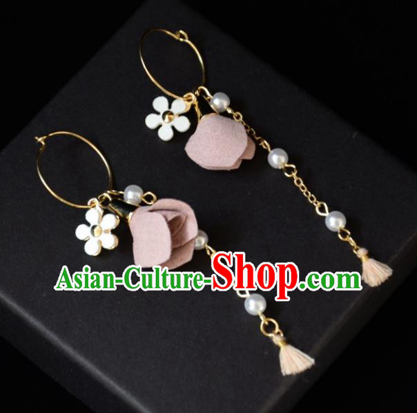European Western Bride Vintage Pink Flowers Earbob Accessories Renaissance Earrings for Women
