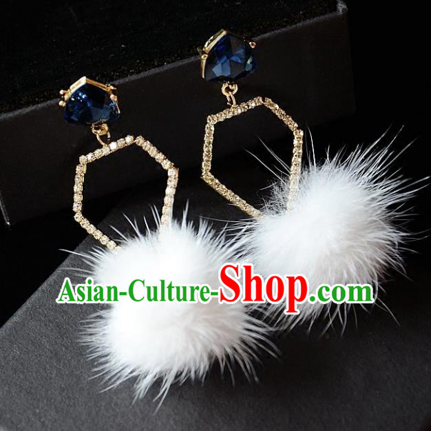 European Western Bride Vintage Blue Crystal Earbob Accessories Renaissance Earrings for Women