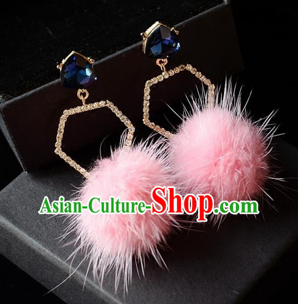 European Western Bride Vintage Crystal Pink Earbob Accessories Renaissance Earrings for Women
