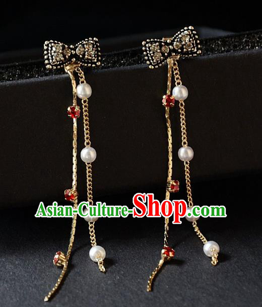 European Western Bride Vintage Black Bowknot Earbob Accessories Renaissance Earrings for Women