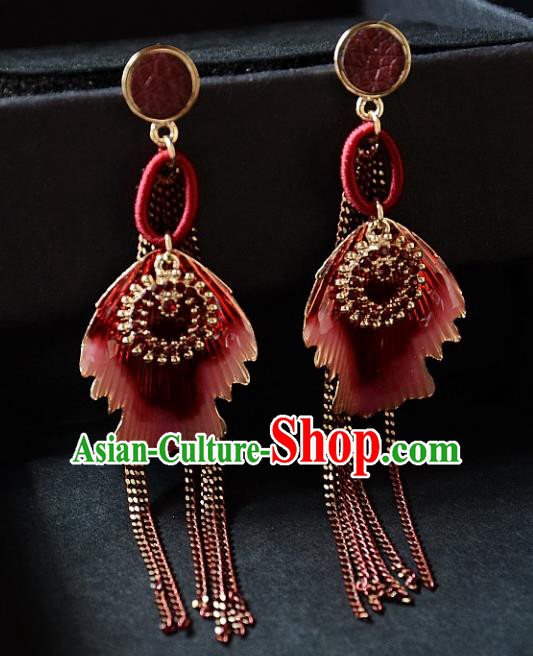 European Western Bride Vintage Red Tassel Earbob Accessories Renaissance Earrings for Women