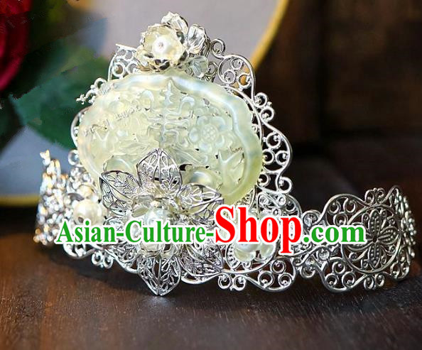 Chinese Handmade Classical Hair Accessories Ancient Prince Hanfu Hairpins Jade Hairdo Crown for Men