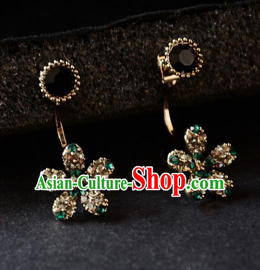European Western Bride Vintage Accessories Renaissance Bohemia Crystal Flower Earrings for Women