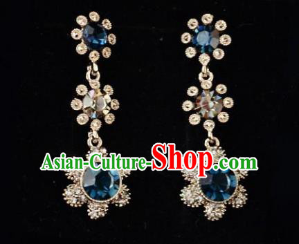 European Western Bride Vintage Accessories Renaissance Blue Crystal Earrings for Women