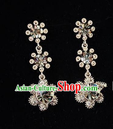 European Western Bride Vintage Accessories Renaissance Champagne Crystal Earrings for Women