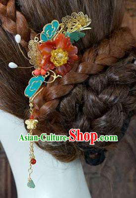 Chinese Handmade Classical Wedding Hair Accessories Ancient Hanfu Tassel Hairpins for Women
