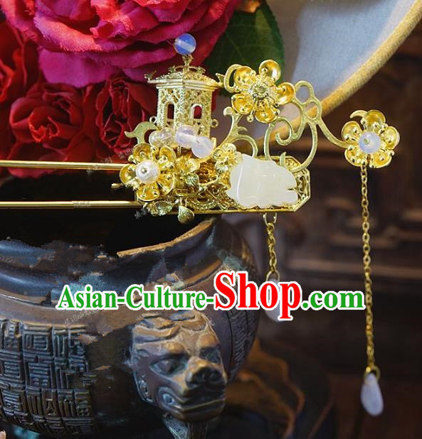 Chinese Handmade Classical Hair Accessories Ancient Hanfu Jade Hairpins Tassel Hair Clip for Women