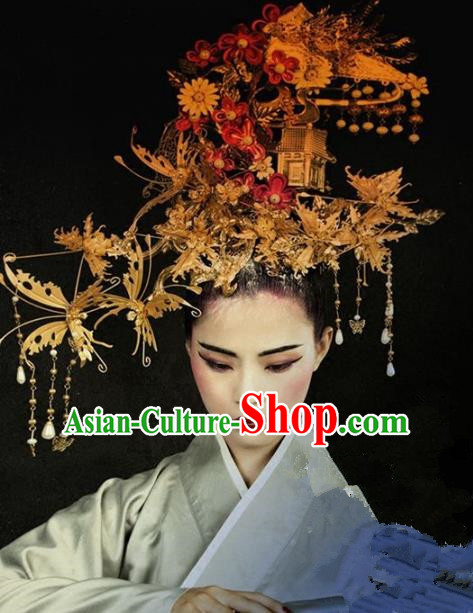 Chinese Handmade Classical Hair Accessories Ancient Hanfu Phoenix Coronet Hairpins Tassel Hair Clip for Women