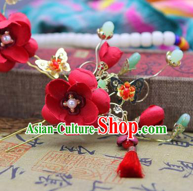 Handmade Asian Chinese Ancient Palace Lady Hair Accessories Hanfu Red Flowers Hairpins for Women