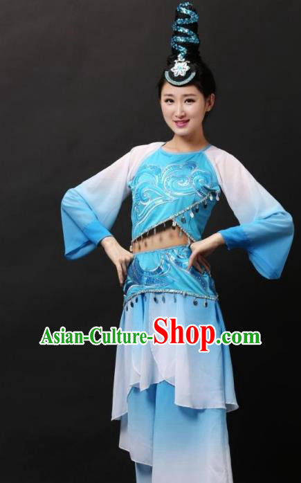 Traditional Chinese Classical Dance Blue Costume, China Classical Folk Dance Clothing for Women