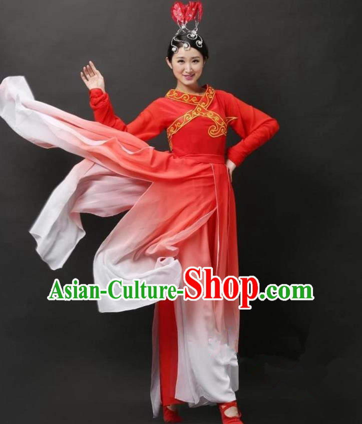 Traditional Chinese Classical Yangge Dance Costume, China Folk Dance Red Clothing for Women