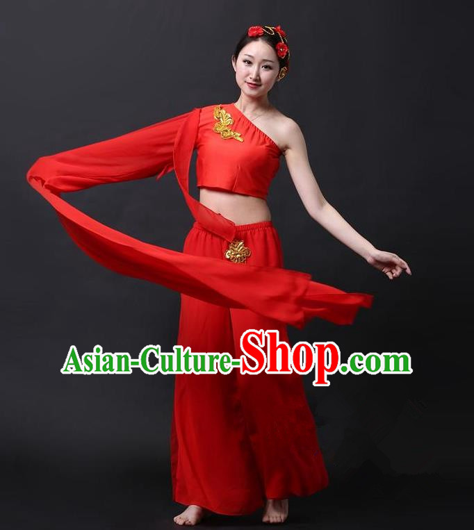 Traditional Chinese Classical Yangge Dance Costume, China Folk Dance Single Sleeve Red Clothing for Women
