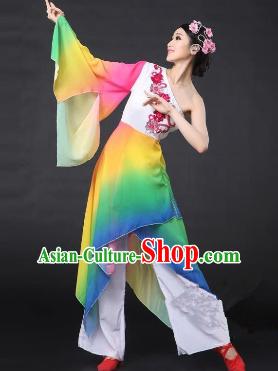 Traditional Chinese Classical Yangge Dance Costume, China Folk Dance Single Sleeve Clothing for Women