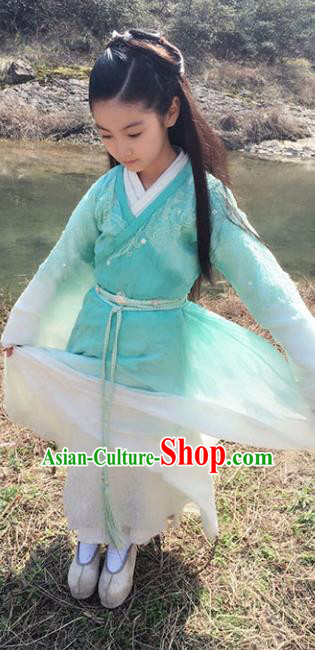 China Ancient Ming Dynasty Princess Fairy Hanfu Embroidered Costume for Kids