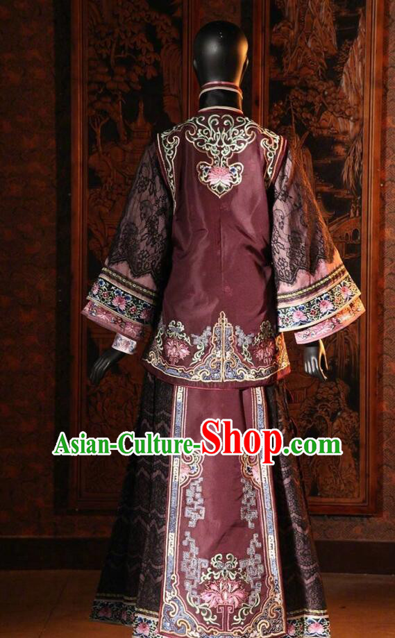 Traditional Chinese Qing Dynasty Dowager Countess Embroidered Costume Purple Xiuhe Suits for Women