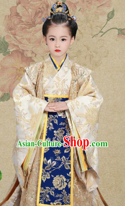 Traditional Chinese Han Dynasty Imperial Empress Trailing Embroidered Costume and Headpiece for Kids