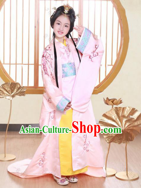 Traditional Chinese Han Dynasty Palace Lady Princess Embroidered Costume and Headpiece for Kids