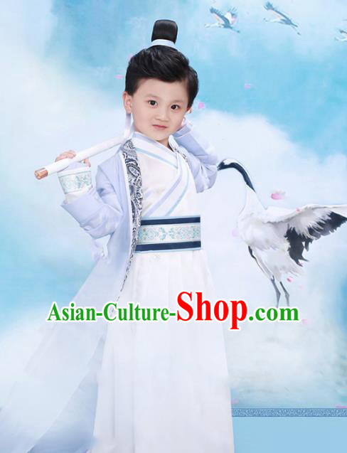 Traditional Chinese Tang Dynasty Prince Costume Ancient Nobility Childe Clothing and Headpiece for Kids