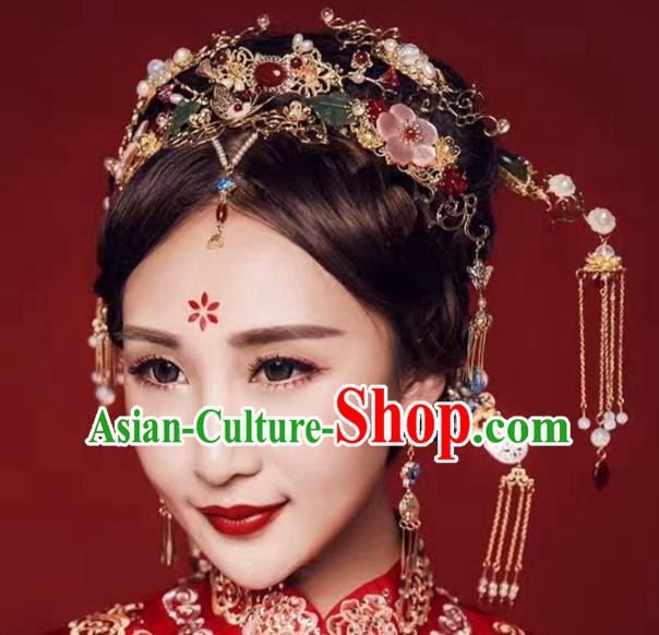 Chinese Handmade Classical Hairpins Frontlet Ancient Hanfu Wedding Hair Accessories for Women