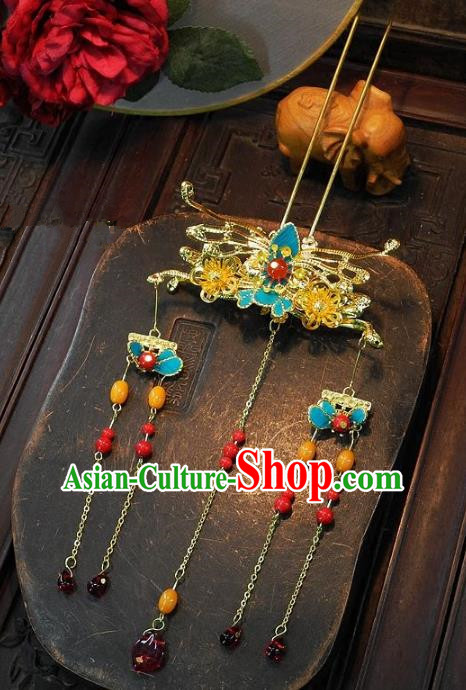 Chinese Handmade Classical Hairpins Ancient Hanfu Step Shake Wedding Hair Accessories for Women