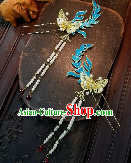 Chinese Handmade Classical Butterfly Tassel Hairpins Ancient Hanfu Wedding Hair Accessories for Women