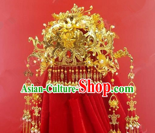 Chinese Handmade Classical Hair Accessories Ancient Wedding Headdress Extravagant Phoenix Coronet for Women