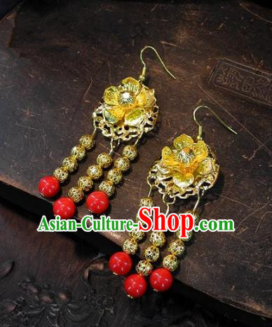 Asian Chinese Traditional Handmade Golden Earrings Jewelry Accessories Lotus Eardrop for Women