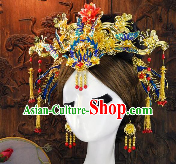 Chinese Handmade Classical Hair Accessories Ancient Wedding Headdress Blueing Phoenix Coronet Hairpins for Women