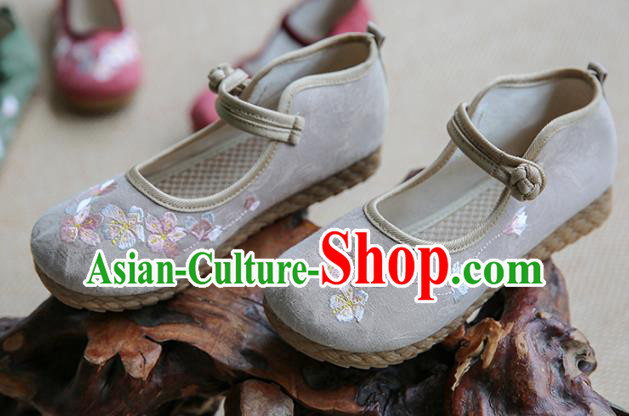Traditional Chinese Grey Shoes Wushu Shoes Hanfu Shoes Embroidered Shoes