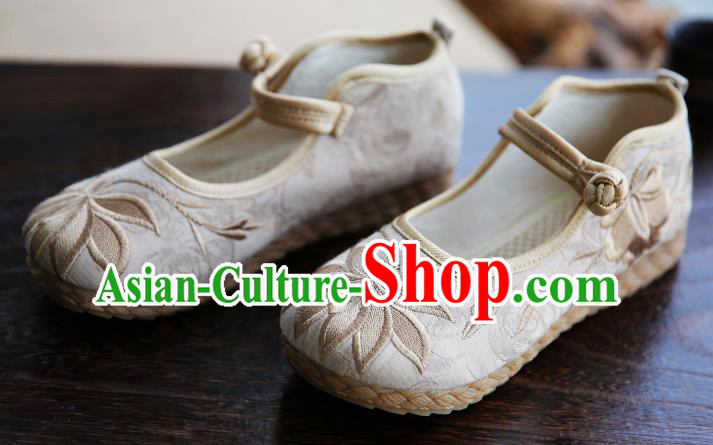 Traditional Chinese Shoes Wushu Shoes Beige Hanfu Shoes Embroidered Lotus Shoes