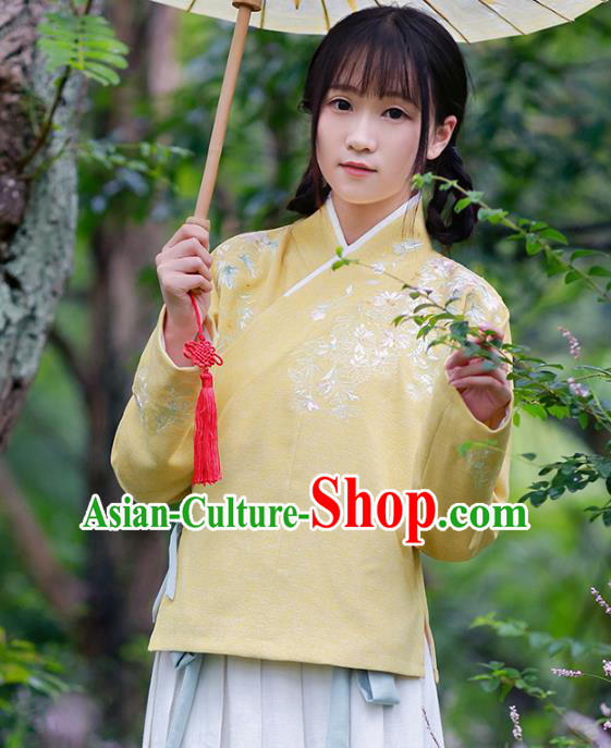 Traditional Chinese National Costume Embroidered Cheongsam Blouse Tangsuit Yellow Shirts for Women
