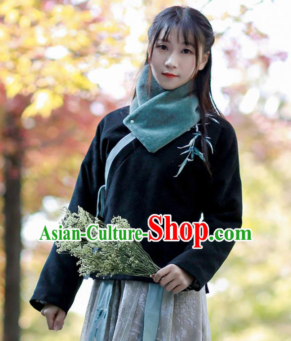 Traditional Chinese National Costume Embroidered Black Blouse Tangsuit Shirts for Women