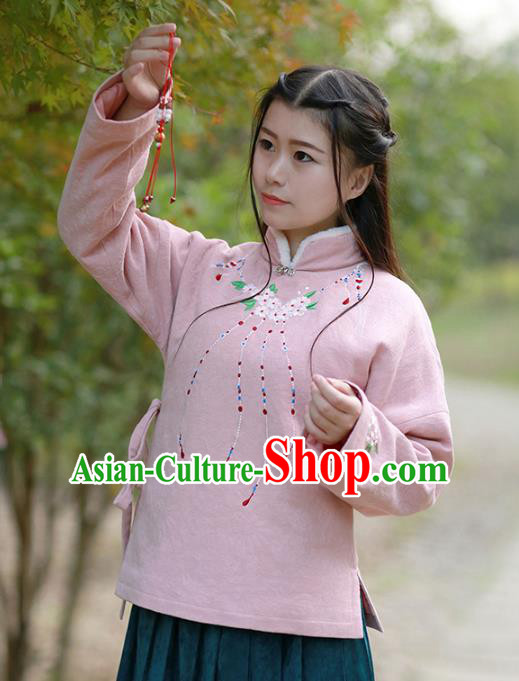 Traditional Chinese National Costume Embroidered Cotton-padded Blouse Tangsuit Shirts for Women