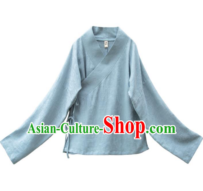 Traditional Chinese National Costume Cheongsam Blue Blouse Tangsuit Shirts for Women