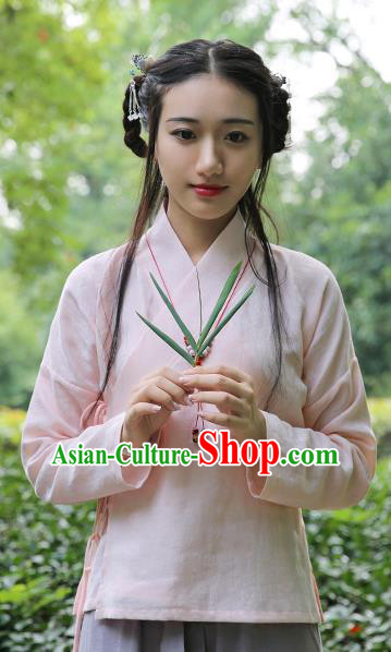 Traditional Chinese National Costume Cheongsam Pink Blouse Tangsuit Shirts for Women