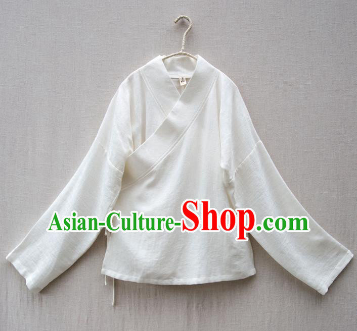 Traditional Chinese National Costume Cheongsam White Blouse Tangsuit Shirts for Women