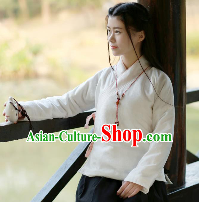 Traditional Chinese National Costume Cheongsam Cotton-padded Blouse Tangsuit Shirts for Women
