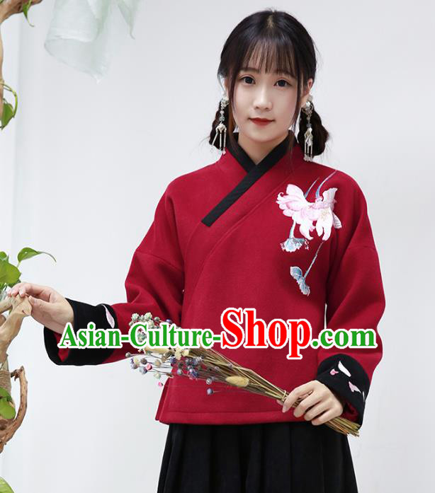 Traditional Chinese National Costume Cheongsam Red Wool Blouse Tangsuit Embroidered Coats for Women