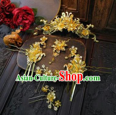 Chinese Handmade Classical Tassel Hairpins Ancient Xiuhe Suit Wedding Headdress Hair Accessories for Women