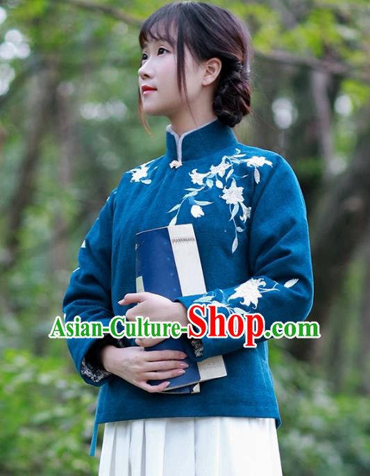 Traditional Chinese National Costume Embroidered Hanfu Navy Cotton-padded Blouse Tangsuit Shirts for Women