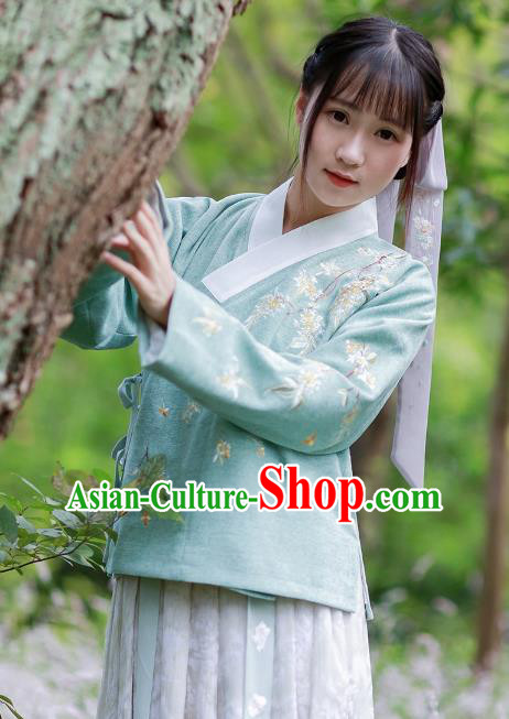 Traditional Chinese National Costume Embroidered Hanfu Green Blouse Tang Suit Shirts for Women