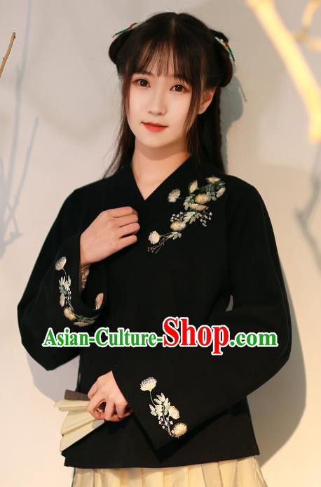 Traditional Chinese National Costume Embroidered Hanfu Black Blouse Tangsuit Shirts for Women