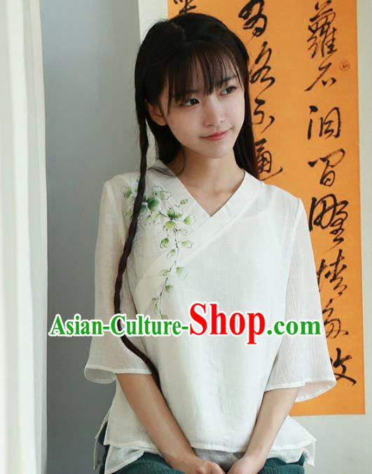 Traditional Chinese National Costume Embroidered Hanfu Blouse Tangsuit White Shirts for Women