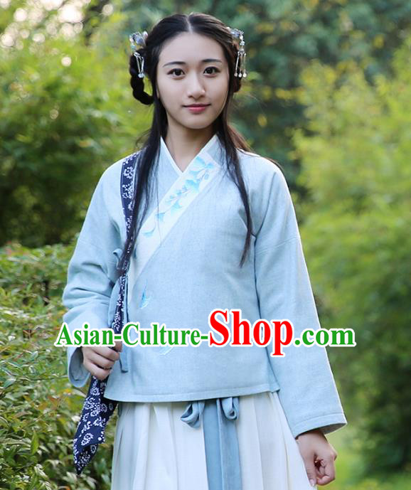 Traditional Chinese National Costume Embroidered Shirts Hanfu Cheongsam Blouse for Women