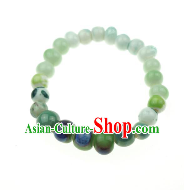 Traditional Chinese Bracelet Accessories Jingdezhen Ceramics Beads Bangle for Women