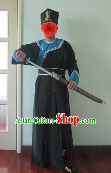 Traditional Chinese Stage Performance Costume Ancient Imperial Bodyguard Hanfu Clothing for Men