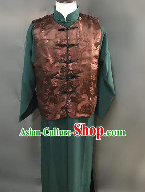 Traditional Chinese Stage Performance Costume Ancient Qing Dynasty Manchu Landlord Clothing for Men