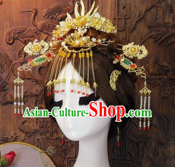Chinese Handmade Classical Wedding Hair Accessories Ancient Hanfu Phoenix Coronet Headdress for Women